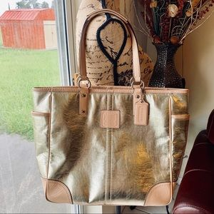 Coach Metropolitan Carryall Gold Leather Tote